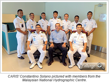 CARIS' Constantino Solano pictured with members from the Malaysian National Hydrographic Centre