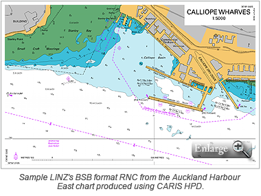 Sample LINZ's BSB format RNC from the Auckland Harbour East chart produced using CARIS HPD.