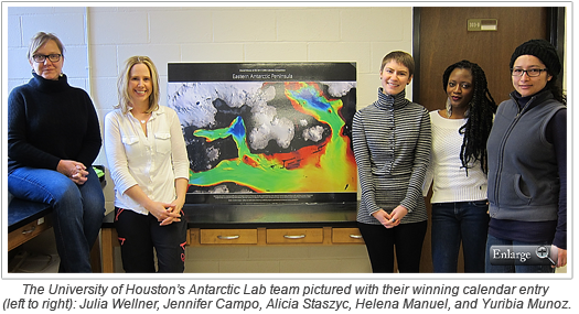 The University of Houston's Antarctic Lab team pictured with their winning calendar entry (left to right): Julia Wellner, Jennifer Campo, Alicia Staszyc, Helena Manuel, and Yuribia Munoz.