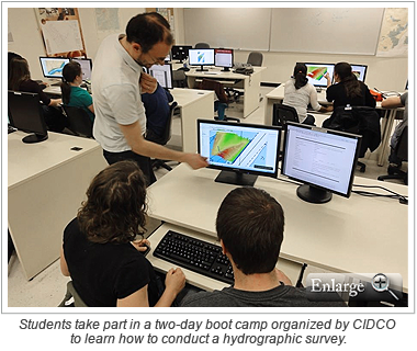 Students take part in a two-day boot camp organized by CIDCO to learn how to conduct a hydrographic survey.
