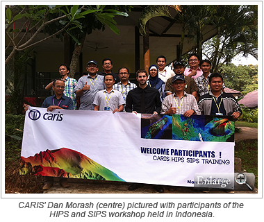 CARIS' Dan Morash (centre) pictur­_ed with participants of the HIPS and SIPS workshop held in Indonesia.
