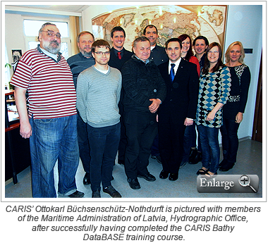 CARIS' Ottokarl Büchsenschütz-Nothdurft is pictured with members of the Maritime Administration of Latvia, Hydrographic Office, after successfully having completed the CARIS Bathy DataBASE training course.