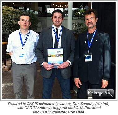 Pictured is CARIS scholarship winner, Dan Sweeny (centre), with CARIS' Andrew Hoggarth and CHA President and CHC Organizer, Rob Hare.