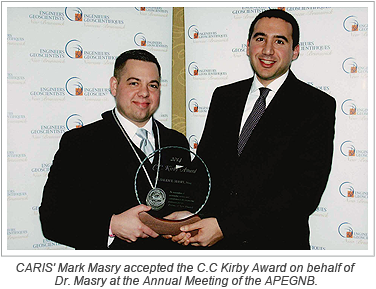 CARIS' Mark Masry accepted the C.C Kirby Award on behalf of Dr. Masry at the Annual Meeting of the APEGNB.
