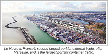 Le Havre is France's second largest port for external trade, after Marseille, and is the largest port for container traffic.