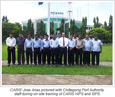CARIS' Jose Arias pictured with Chittagong Port Authority staff during on-site training of CARIS HIPS and SIPS.