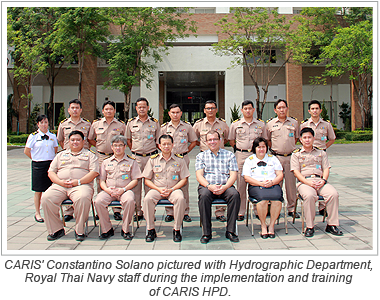 CARIS' Constantino Solano pictured with Hydrographic Department, Royal Thai Navy staff during the implementation and training of CARIS HPD.