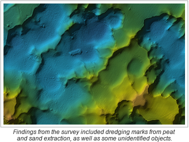 Findings from the survey included dredging marks from peat and sand extraction, as well as some unidentified objects.