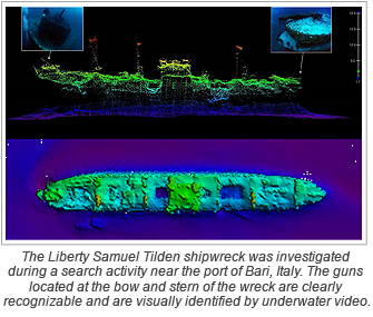 The Liberty Samuel Tilden shipwreck was investigated during a search activity near the port of Bari, Italy. The guns located at the bow and stern of the wreck are clearly recognizable and are visually identified by underwater video.