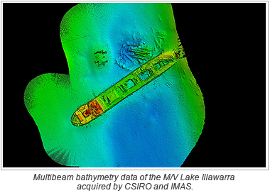 Multibeam bathymetry data of the M/V Lake Illawarra acquired by CSIRO and IMAS.