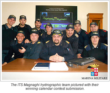 The ITS Magnaghi hydrographic team pictured with their winning calendar contest submission.