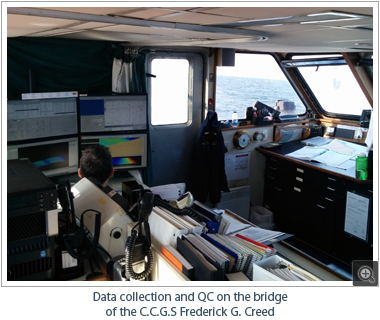 Data collection and QC on the bridge of the C.C.G.S Frederick G. Creed