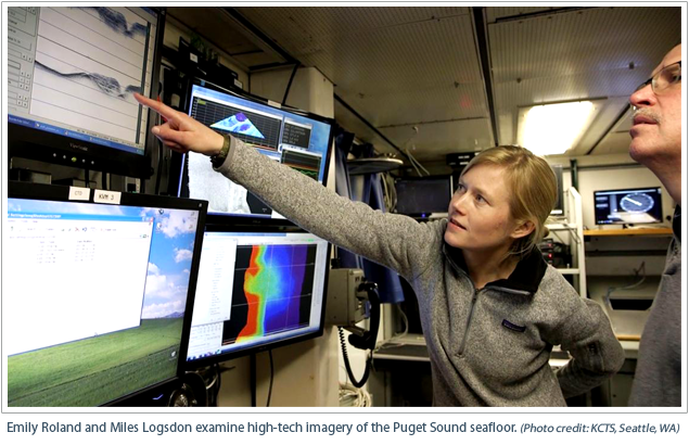 Emily Roland and Miles Logsdon examine high-tech imagery of the Puget Sound seafloor.