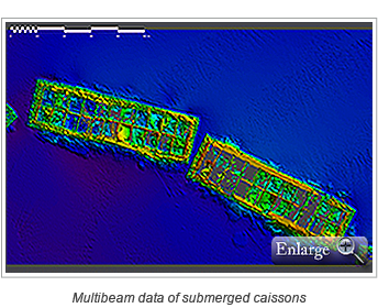 Multibeam data of submerged caissons
