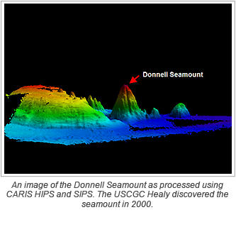 An image of the Donnell Seamount as processed using CARIS HIPS and SIPS. The USCGC Healy discovered the seamount in 2000.