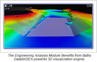 The Engineering Analysis Module Benefits from Bathy DataBASE's powerful 3D visualization engine.