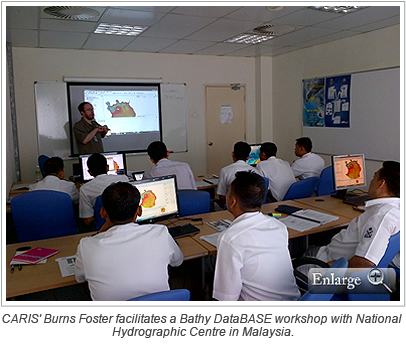 CARIS' Burns Foster facilitates a Bathy DataBASE workshop with National Hydrographic Centre in Malaysia.