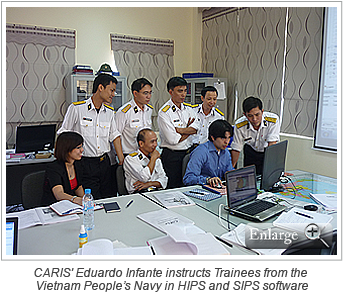 CARIS' Eduardo Infante instructs Trainees from the Vietnam People's Navy in HIPS and SIPS software