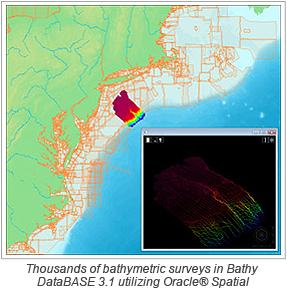 Thousands of bathymetric surveys in Bathy DataBASE 3.1 utilizing Oracle® Spatial