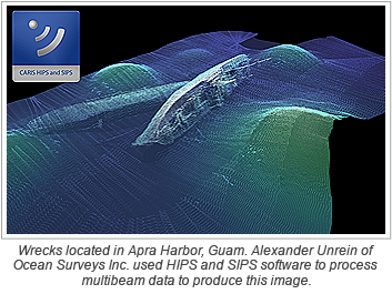 Wrecks located in Apra Harbor, Guam. Alexander Unrein of Ocean Surveys Inc. used HIPS and SIPS software to process multibeam data to produce this image.
