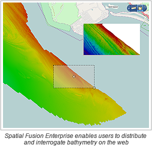 Spatial Fusion Enterprise enables users to distribute and interrogate bathymetry on the web