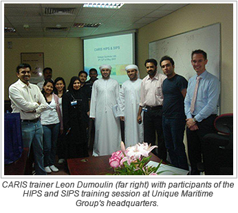 CARIS trainer Leon Dumoulin (far right) with participants of the HIPS and SIPS training session at Unique Maritime Group's headquarters.