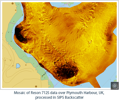 Mosaic of Reson 7125 data over Plymouth Harbour, UK, processed in SIPS Backscatter