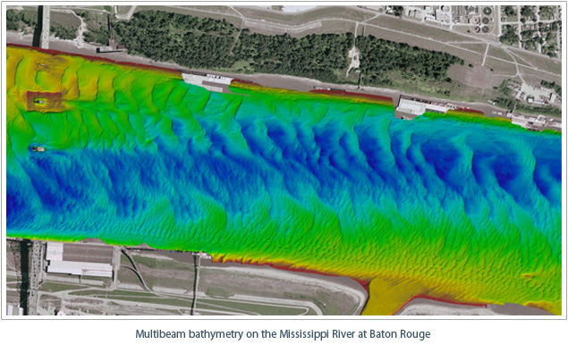 Multibeam bathymetry on the Mississippi River at Baton Rouge